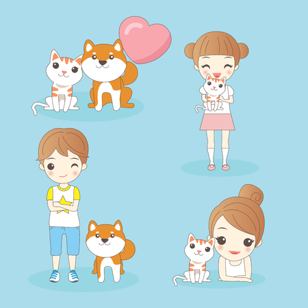 Cute cartoon kids with pets for your concept Illustration