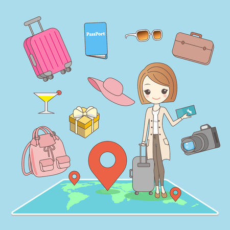 beauty cartoon woman go travel for your concept Illustration
