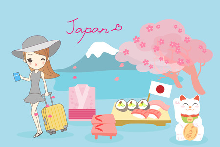 beauty cartoon woman go travel to japan in spring