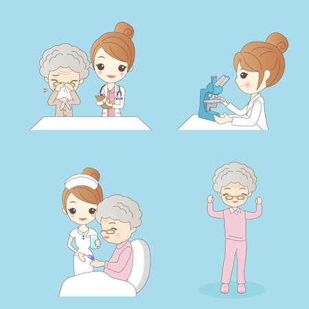 cute cartoon nurse with patient for your concept Vector Illustration