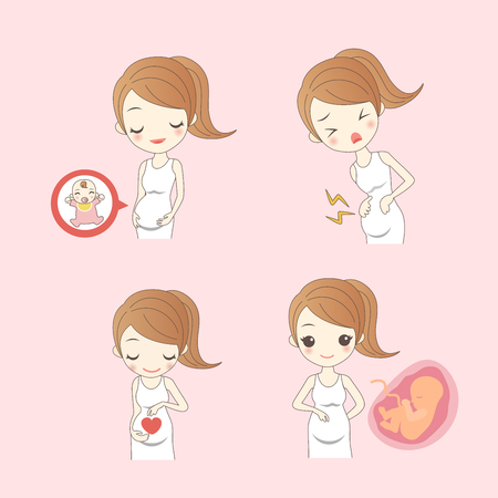 happy cartoon pregnant woman and cute baby