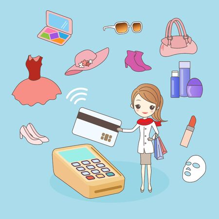 cartoon woman shopping ,great for your design Illustration