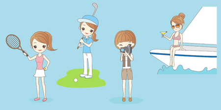 cute cartoon woman do leisure activities for your health concept