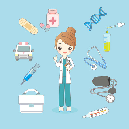 cute cartoon woman doctor with health concept