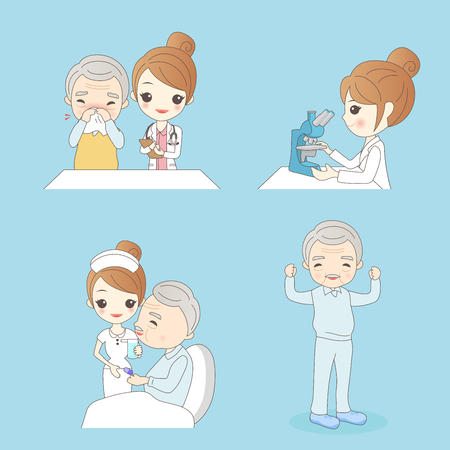 trainee: cute cartoon nurse with patient for your concept