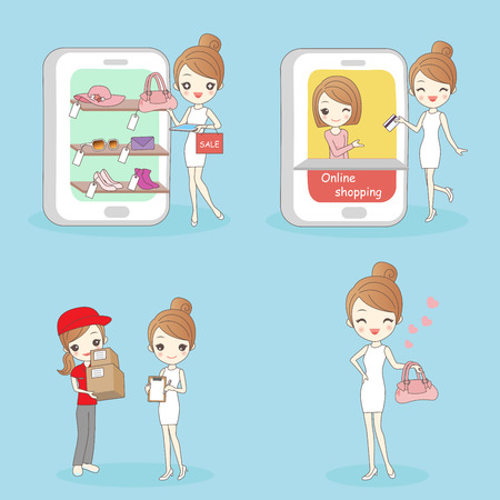 cute cartoon woman with online shopping for your concept Illustration