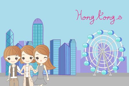 property of china: beauty cartoon women go travel to hongkong