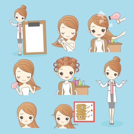 styler: beauty cartoon woman with hair salon isolated on blue background