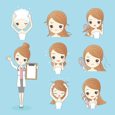 styler: Beauty cartoon woman with hair problem isolated on blue background