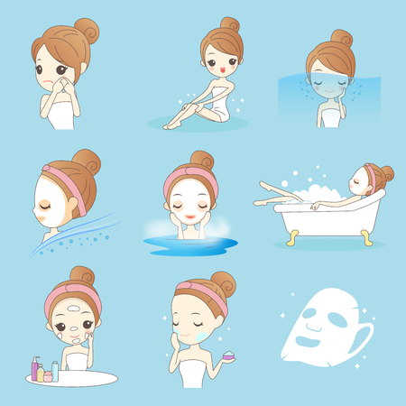 Beauty cartoon woman with make up isolated on blue background Stock Illustratie