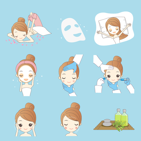 Beauty cartoon woman with make up isolated on blue background Illustration