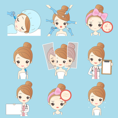 Beauty cartoon woman with face problem solated on blue background Illustration