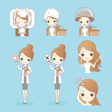 Beauty cartoon woman with hair salon isolated on blue background Illustration