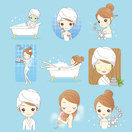 Beauty-Cartoon-Frau mit Make-up isoliert auf blauem Hintergrund Standard-Bild - 72992249