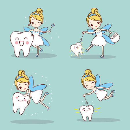 cartoon tooth with tooth fairy and magic wand