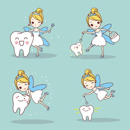 Dente di cartone animato con fata di denti e bacchetta magica