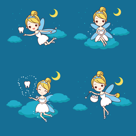 caute cartoon fairy with tooth in the night
