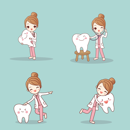 cute cartoon dentist with tooth and smile happily Vector Illustration
