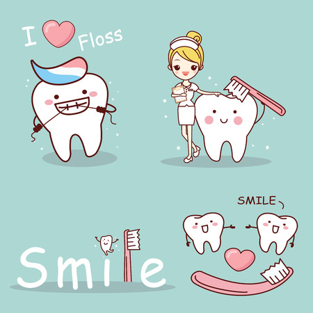 cute cartoon tooth and nurse with health concept