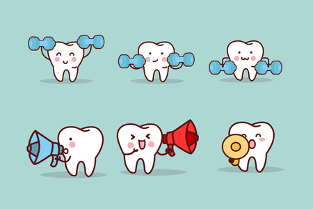 cute cartoon tooth take dumbbell and microphone