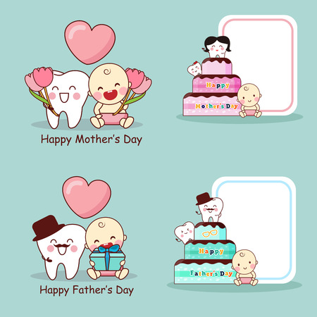 baby sick: happy mother and father day a with cartoon teeth