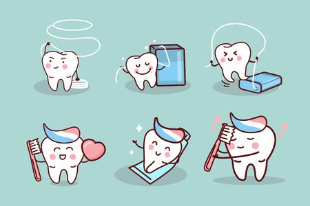 cute cartoon tooth with health dental concept