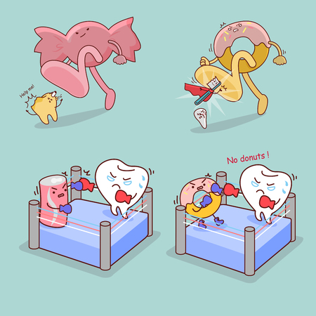 cute cartoon giant candy step on teeth, great for dental care concept
