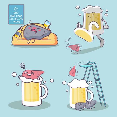 cute cartoon unhealthy liquor drunk and liver