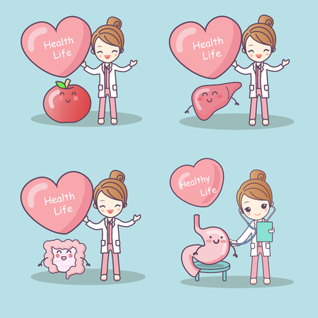 cute cartoon woman doctor with different organs Illustration