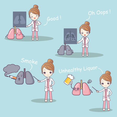 cute cartoon doctor with lung problem on blue background