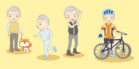anciano: Cute cartoon old man do different exercise Vectores