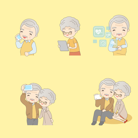 woman cellphone: Cartoon of old couple using technology products