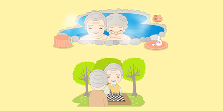 Cute cartoon of old couple enjoying life with yellow background