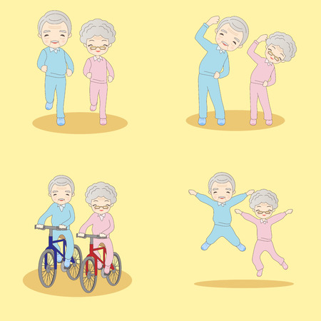 retire: Cute cartoon old couple doing exercise with yellow background