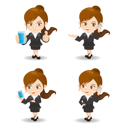 woman cellphone: cute cartoon businesswoman with cellphone on white background
