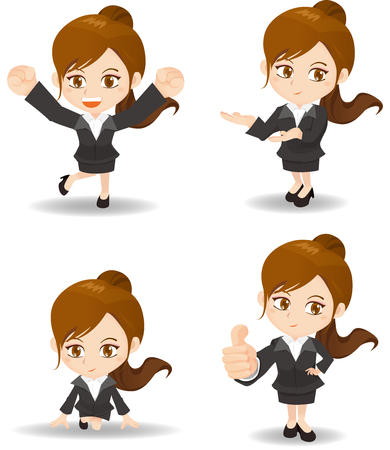 introduce: cute cartoon businesswoman do different gesture on white background