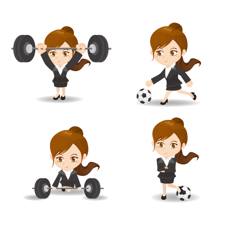 cute cartoon businesswoman do different exercise on white background
