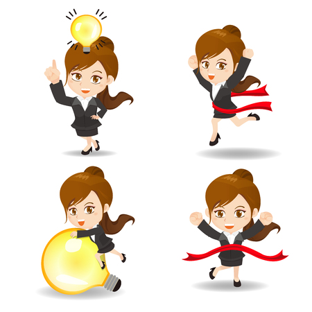 smart girl: cute cartoon businesswoman with light bulb on white background Illustration