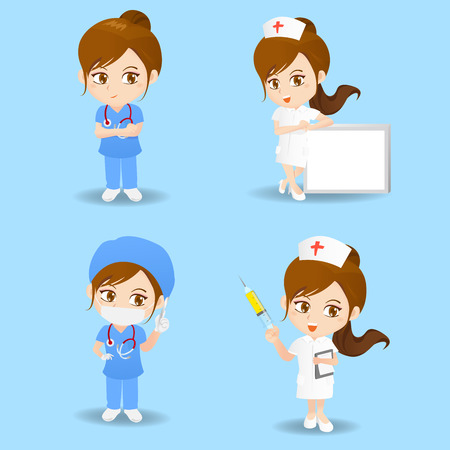 cute cartoon woman doctor and nurse with blue background