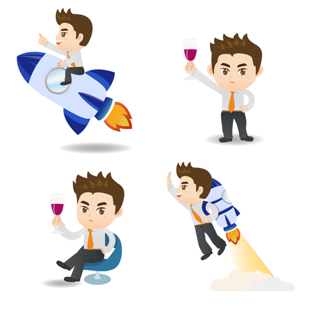 cute cartoon business man with rocket and red wine