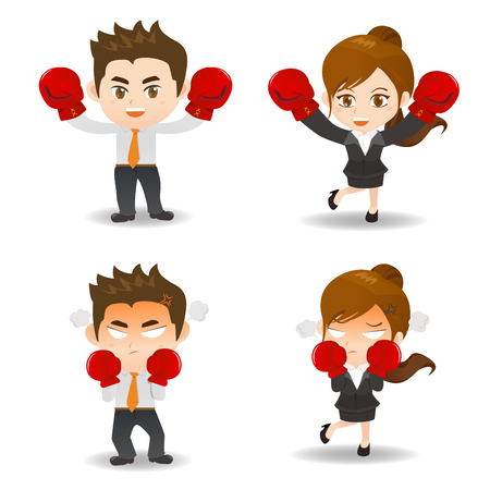 competitor: Cute cartoon business people with boxing on white background