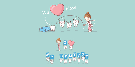 skip: Cute cartoon dentist play with tooth and floss