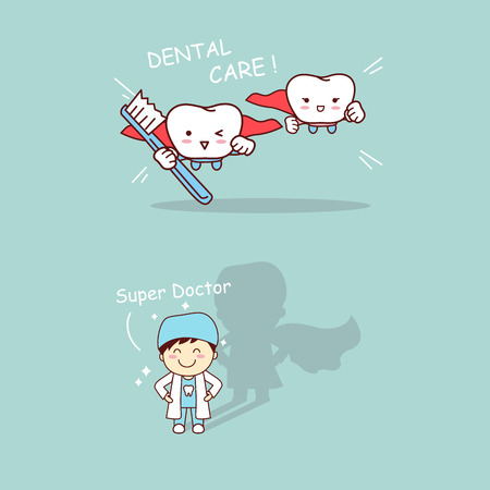 cloak: Cartoon super dentist and tooth with toothbrush