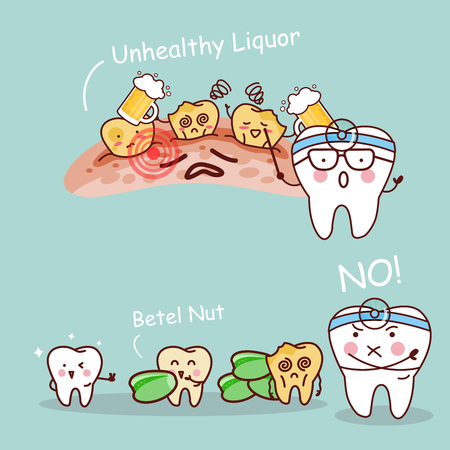 Cute cartoon tooth dentist with healthy concept