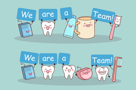 Cute cartoon tooth smile happily with team