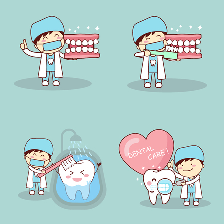 Cute cartoon dentist show thumbs up with tooh