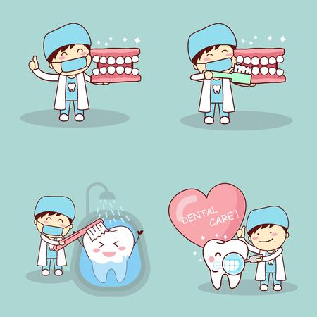 Le dentiste mignon de dessin animé montre le pouce avec tooh