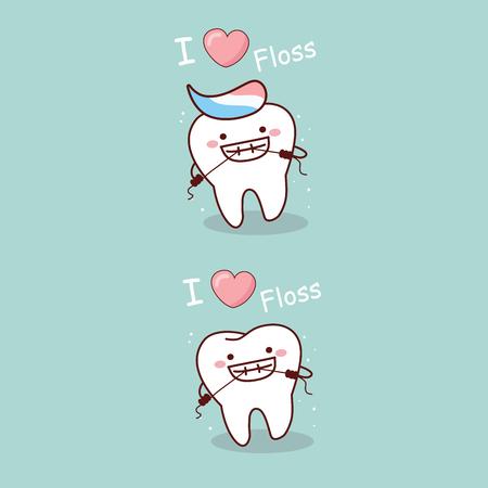 Netter Karikaturzahn Lächeln glücklich mit Zahnseide Standard-Bild - 75894503