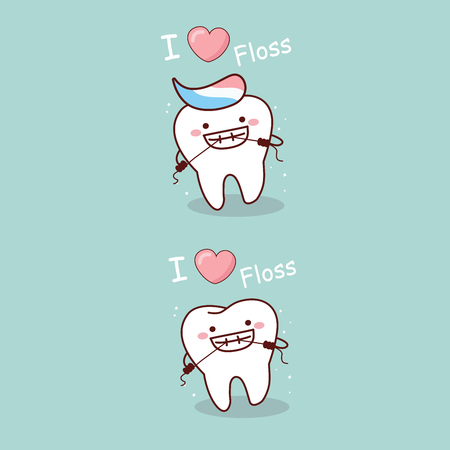 Cute cartoon tooth smile happily with floss