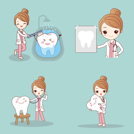 Cute cartoon dentist with tooth Illustration